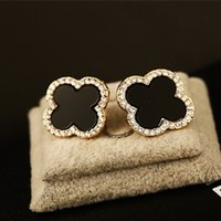 Wholesale Gold Clover Earrings - Agood high quality rose gold 4 leaf clover earrings stud for women female party wedding party jewelry accessories ER00148