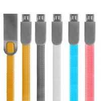 Type C Zinc Alloy Flat fideos 2A Cargador rápido Micro usb Cable Wire para samsung s6 s7 s8 note 8 htc teléfono android 6 7 8