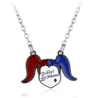 Wholesale Silver Clown Pendant - Movie Jewelry Suicide Squad Necklace Alloy Clown Joker Pendants&Necklace Charms Necklace