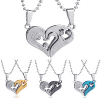 Wholesale Gold Couple Pendant - Double Heart Pendant Necklaces 2 Pieces A Set Crystal Matching Couple Lovers I Love U 316L Stainless Chain Men Necklaces Jewelry