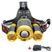 Wholesale 3x Xml T6 - 6000LM Zoomable Outdoor Waterproof LED Headlamp Rechargeable 3X CREE XML T6 LED Headlight Camping Fishing Bicycling Head Lamp with Charger