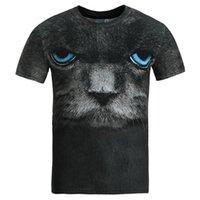 Wholesale Big Cat Face Shirt - 3D T shirts Summer Tops Men women 3d t-shirt short sleeve digital printing big face blue eyes cat slim t shirt tees plus size