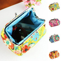 Wholesale Wholesale Cute Coin Purses - Wholesale- Hot Sale Fashion Cute Embroidered Case Wallet Card Keys Pouch Coin Purse Vintage Flower Bags For Women