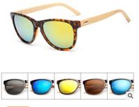 Wholesale wholesale real sunglasses online - New hot real bamboo sunglasses women men retro handmade bamboo wooden sun glasses bambu arms eyewear oculos sunglasses