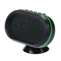 Wholesale VST V Multi Functional Car Electronic Clock Thermometer Voltmeter with Night Lights Black Glass Screen Green Black