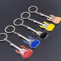 Wholesale Led Crystal Acrylic Guitar - Metal guitar violin keychain creative instrument line opening activities gift personality gifts KR018 Keychains mix order 20 pieces a lot