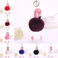 14 estilos Cute Pompom Keychain Chaveiro Flamingo Fluffy Beautiful Fur Ball Feminino Carro Bag Pompon Chaveiro Pom Pom Holder Jewellery B236S