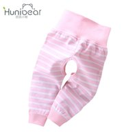Wholesale Baby Open Crotch Pants - 2017 Spring Autumn Newborn Pants baby girl pants stripe Open the crotch Elastic High Waist Baby Boy Leggings Trousers casual toddler Infant