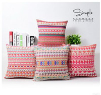 Wholesale Aztec Pillows - Geometric Aztec Cushion Cover Bohemia Zig zag Chevron Throw Pillow Case Colorful Linen Cotton Decorative Cushion Sofa Home Decor