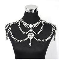 omuz gövde zinciri takı toptan satış-Toptan Moda Düğün Gelin Nedime Balo Gümüş Kristal Rhinestone Seti Omuz Vücut Zinciri Yaka Kolye Takı Aksesuarları