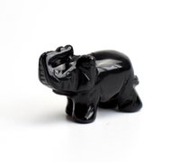 Wholesale 2 INCHES Natural Black Obsidian Carved Crystal Reiki Healing Elephant Statue with a Velvet Pouch