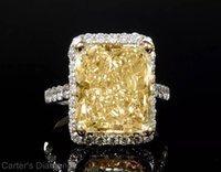 Wholesale Radiant Diamond Engagement Rings - 10.08ct Radiant GIA Yellow Diamond Halo Platinum Engagement Ring