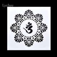 Wholesale Lychee Scrapbooking Tool Card DIY Album Masking Spray Painted Template Drawing Stencils Laser Cut Templates Lotus Zen Yoga