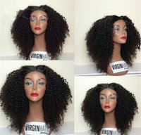 Wholesale Lace Wigs Afro Straight - 8A Mogolian Kinky Curly Full Lace Human Hair Wigs For Black Women Virgin Glueless Full Lace Wigs Afro Kinky Curly Lace Front Wig