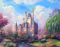 Wholesale Canvas Paste - New diy diamond painting cross stitch kits resin pasted painting full square drill needlework Mosaic Home Decor scenic rainbow castle zf0038