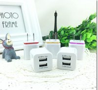 Wholesale Iphone Wall Charger Dhl - Wholesale cell phone 2usb travelling wall chargers EU US metal dual port AC wall charger USB power adapter DHL free shipping
