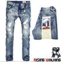 Wholesale Jeans Broken - High Quanlity men's jeans Korean Slim Straight jeans Men's light-colored jeans child tide beggar hole Retro broken copp Free Shipping