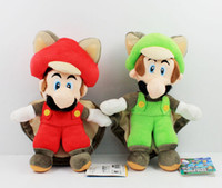"""Wholesale Mario Brothers Stuffed Toys - New Super Mario Brothers Bros Red & Green Bat Mario Plush Doll Stuffed Toy Gifts (2pcs Lot  Size: 8"""" 20cm)"""