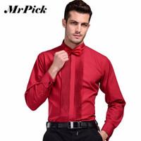 casual euro kleid großhandel-Großhandel-2016 neue Marke Französisch Manschette Button Shirt Herren Business Casual Shirts Hochzeitskleid Mode Schwalbe Kragen Shirts 3XL Z1542-Euro