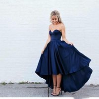 Wholesale Cheap Blue High Low Dresses - 2016 High Low Satin Prom Dresses Short Front Long Back Sweetheart Navy Blue Evening Party Dresses Cheap Formal Gowns