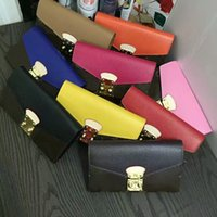Wholesale Women S Pink Wallet - Famous original Women real leather multicolor coin purse Long S Lock wallet Card holder classic zippey pocket victorine 58414 With Box CX123