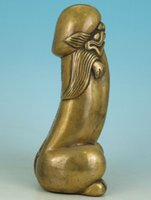 Wholesale Asian Statues - Nice Asian Chinese Old Bronze Carved Penis God Collect Statue Figure Ornament