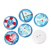 Wholesale Two Hole Heart Button - chaotic White Blue Red Star India heart nautical design circular two holes wooden buttons 20mm-100pcs buttons brand clothing