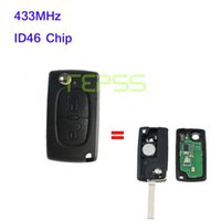 id46 chip peugeot venda por atacado-Brand New Dobrável Virar Remoto Chave 2 botão para Peugeot 307 433 MHZ ID46 Chip 0536 modelos até 20110416