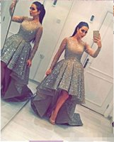 Wholesale Crystal High Low Prom Dresses - 2017 Sparkly Sequins Prom Dresses O Neck High Low Long Sleeve Ruffles Formal Evening Dresses Arabic Dubai Style