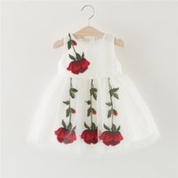 Wholesale Holiday Dress Rose - High quality girl rose dress exquisite child sleeveless princess dress holiday gift JC147