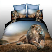 Wholesale Lion Print Bedding Set - 3D Reactive Print Bedding sets Animal Bedclothes Wolf Leopard Tiger Lion Panda Flower 4pcs Queen size