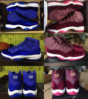 Wholesale Easter Door - 2017 Mens Low and High Retro 11 Velvet Heiress Suede Blue Wine Red Basketball Shoes Out Door Sports Men Sneakers