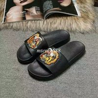 Wholesale Girls Tiger Head - new arrival mens and womens fashion tiger head causal slide sandals boys and girls embroidery flat leather sandals