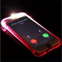 Wholesale Flash Coverings - LED Calls Flash Light UP TPU Case Remind Incoming Call Clear Transparent Cover Cases for iphone X 8 7 6S Samsung S7 edge