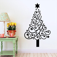 Wholesale Tree Life Wall Sticker - M-4 Festival Christmas Tree Flower Star DIY Wall Stickers Kids Room Living Room Home Decor 3D Vinyl Xmas Wall Decal Removeable