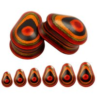 Wholesale Ear Gauges Mixed - 2017 new wood water drop model piercing body jewelry ear plugs colorful ear tunnesl mix size ear gauges wholesale