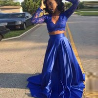 Wholesale green t shirts for girls resale online - 2017 Sexy Two Pieces Royal Blue Long Sleeve Lace Prom Dresses For Black Girls Sexy V Neck Women Prom Gown Formal Party Dress