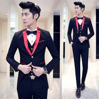 Wholesale Marriage Suits - Wholesale- Red Black Tuxedo Wedding Suits For Men 2016 Lastest Prom Suit Costume Marriage Homme Contrast Collar Red White Black 3pcs