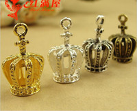 Wholesale Crown Charms 3d - 59*8MM Antique Bronze gold 3D cross crown charms for bracelet, metal vintage silver pendants for necklace, jewelry making handmade materials