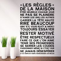 Wholesale House Rules Wall Art - Art new Design home decoration Vinyl French rules Wall Sticker removable house decor PVC Regulations words decals in family rooms