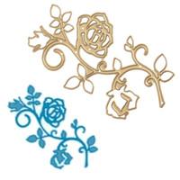 Wholesale rose paper cut - Rose Branch DIY Metal Cutting Dies Stencil Scrapbook Card Album Paper Embossing Crafts