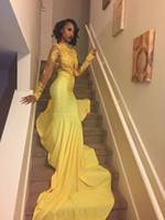 vestidos de fiesta amarillo para la venta al por mayor-Vestidos de baile de la sirena amarilla vestidos mangas largas vestidos de noche de cuello alto con apliques vestidos largos atractivos de baile de fin de curso 2017 de la venta caliente