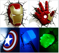 Wholesale Led Wall Lights Living Room - LED The bed bedroom living room wall lamps lighting 3D creative Nightlight Captain America 3D wall lamps lighting