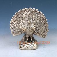 tavuskuşu şarabı toptan satış-Koleksiyon Halk Sanat Çin Gümüş Bronz El Bulmaca Peacock Heykeli w QianLong Markası