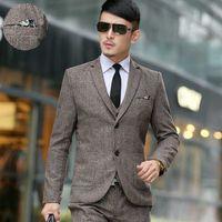Wholesale Men Vest Boutique - Wholesale- (jackets+vest+pants)2016 men boutique quality slim fit business suit three-piece suits Male high-grade wool Blazers jackets coat