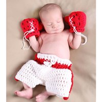 Wholesale Newborn Photography Props Boy - 1 Set Baby Photography Clothing Infant Crochet Boxing Outfit Newborn Photo Props