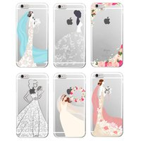 Wholesale Iphone 4s Case Princess - Luxury Bride Princess Dress Soft TPU Transparent for iPhone 6 6Plus 6S 6 7 7Plus 5 5s SE 5c 4 4s