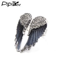 Wholesale Gold Rhinestone Wings Ring - Wholesale- Pipitree 2017 Fashion Angel Wings Ring Punk Biker Jewelry 11 Colors Antique Gold Color Vintage Rhinestone Rings for Men Women