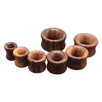 Wholesale flesh ear tunnels for sale - 7Pairs Men Flesh Tunnels Ear Plugs Brown Rose Wood Ear Gauge Expander Piercing Body Jewelry mm mm Free