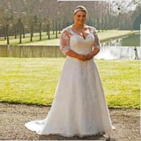 Wholesale Transparent Train Wedding Dresses - Plus Size Wedding Dress 2017 Open Back Garden New Transparent 3 4 Sleeve Lace A Line Sweep Train Appliques Bridal Gowns Custom Made